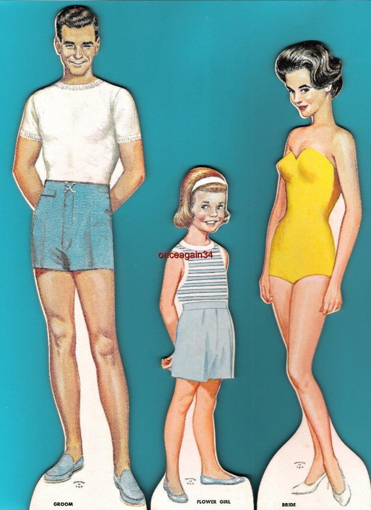 VINTAGE UNCUT 1963 BRIDAL PARTY PAPER DOLLS~#1 REPRODUCTION~VERY PRETTY SET