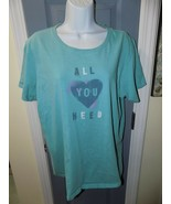 LIFE IS GOOD BLUE CLASSIC FIT ALL YOU NEED T-SHIRT SIZE XL WOMEN'S EUC - $21.87