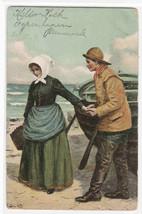 Danske Nationaldragter Fishing People Denmark 1909 postcard - $6.93
