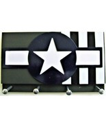 (1944) U.S. Olive Military Aircraft Insignia with Invasion Stripes Key Rack - $17.77