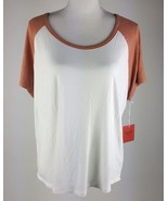 Mossimo Women Size Large Brown And White Short Sleeve T-Shirt NWT Flowy ... - $10.39