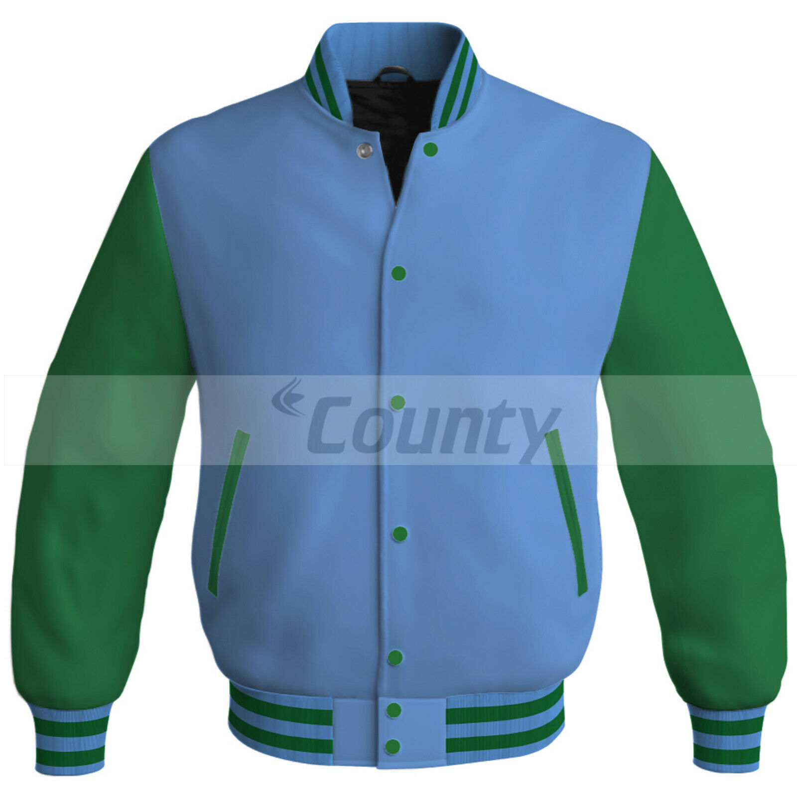 Primary image for Bomber Baseball Letterman College Super Jacket Sports Sky Blue Kelly Green Satin