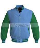 Bomber Baseball Letterman College Super Jacket Sports Sky Blue Kelly Gre... - $49.98+
