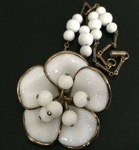 Vintage Antique Signed Crown Trifari Milk Glass flower necklace Gold tone - $49.49