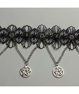 Flower laced & Spikes + Hanging Pentacles Choker - $24.00