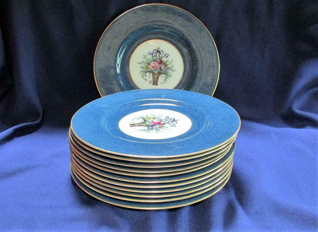 Outstanding Set 12 Royal Worcester Bone China Service for Ovington, Cobalt Blue