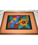 Custom Framed & Matted Kuna Parrot Mola Hand stitched Applique Fabric Ar... - $123.49