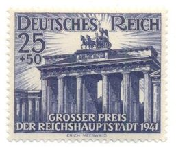 1941 WWII Brandenburg Gate Germany Postage Stamp Catalog Number B193 MNH