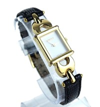 Authentic GUCCI Vintage 1800L Black Leather Gold Metal Quartz Dress Wrist Watch - $197.01