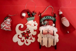Santa Ornament Lot 4: Old World Claus Face Bell Metal Wood & Glass Red C... - $10.84