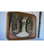 Beautiful stately Old fashioned WEDDING picture, in antique frame Photo ... - $91.58