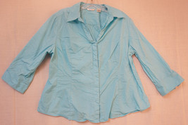 Ribders By Lee Instantly Slimming Midweight Button-Front Shirt, Blue, XL... - $8.78