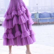 Fuchsia Tiered Skirt Outfit Full Long Tiered Tulle Skirt Princess Outfit Custom  image 3