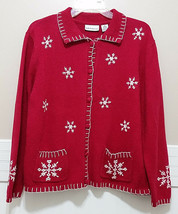 CROFT & BARROW Snowflake Sweater Ladies Medium Red White Embroidered Car... - $24.66