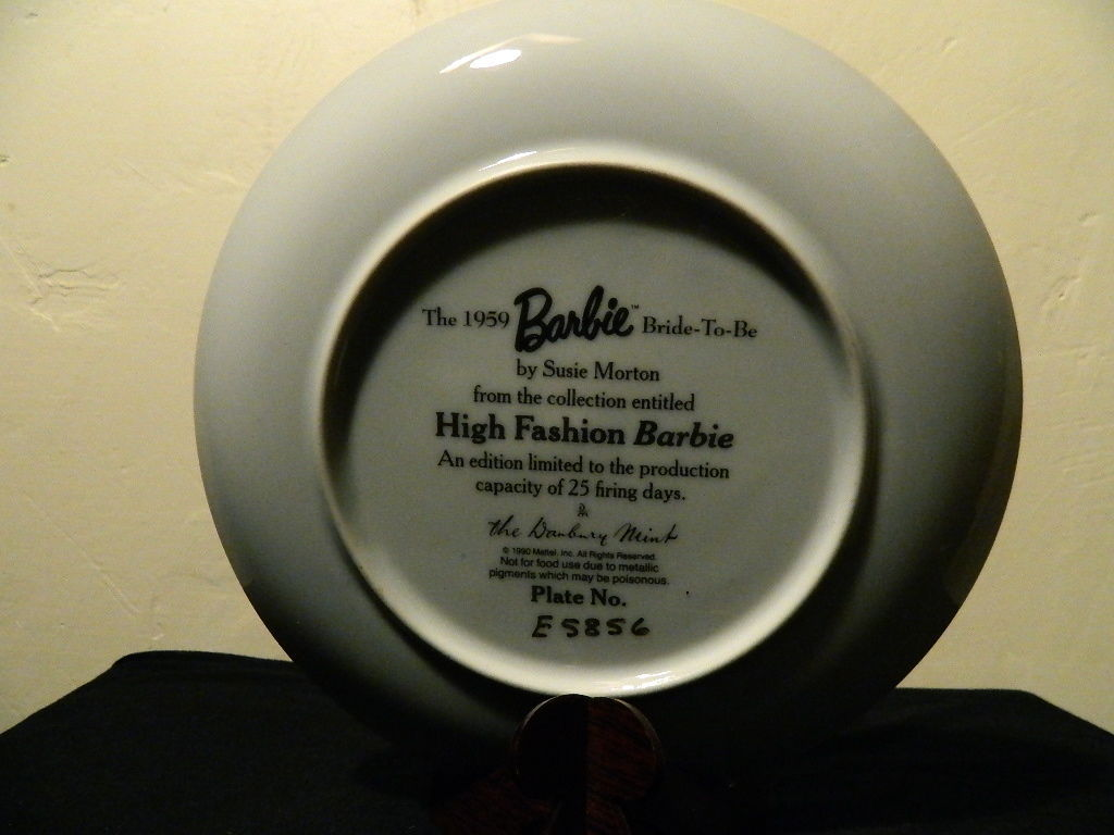 1959-High Fashion-Barbie Bride To Be-Danbury Mint Collectors Plate Susie Morton  image 8