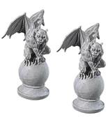 Halloween prop decor Set of Two Malicious Gargoyle Statues (a) - $247.49
