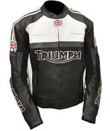 MEN,S BLACK TRIUMPH UK FLAG REAL COWHIDE MOTORCYCLE LEATHER JACKET - $135.00
