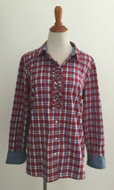 Talbots sz 16 Plaid Ruffled Button Front Top - $22.76