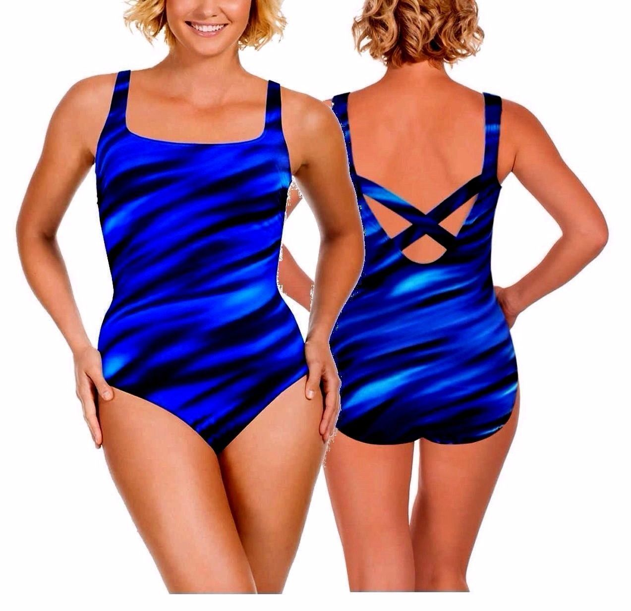 Primary image for Miraclesuit Kirkland 1 Piece Swimsuit look 10 lbs Slimmer Navy Blue Sz 8 to 16