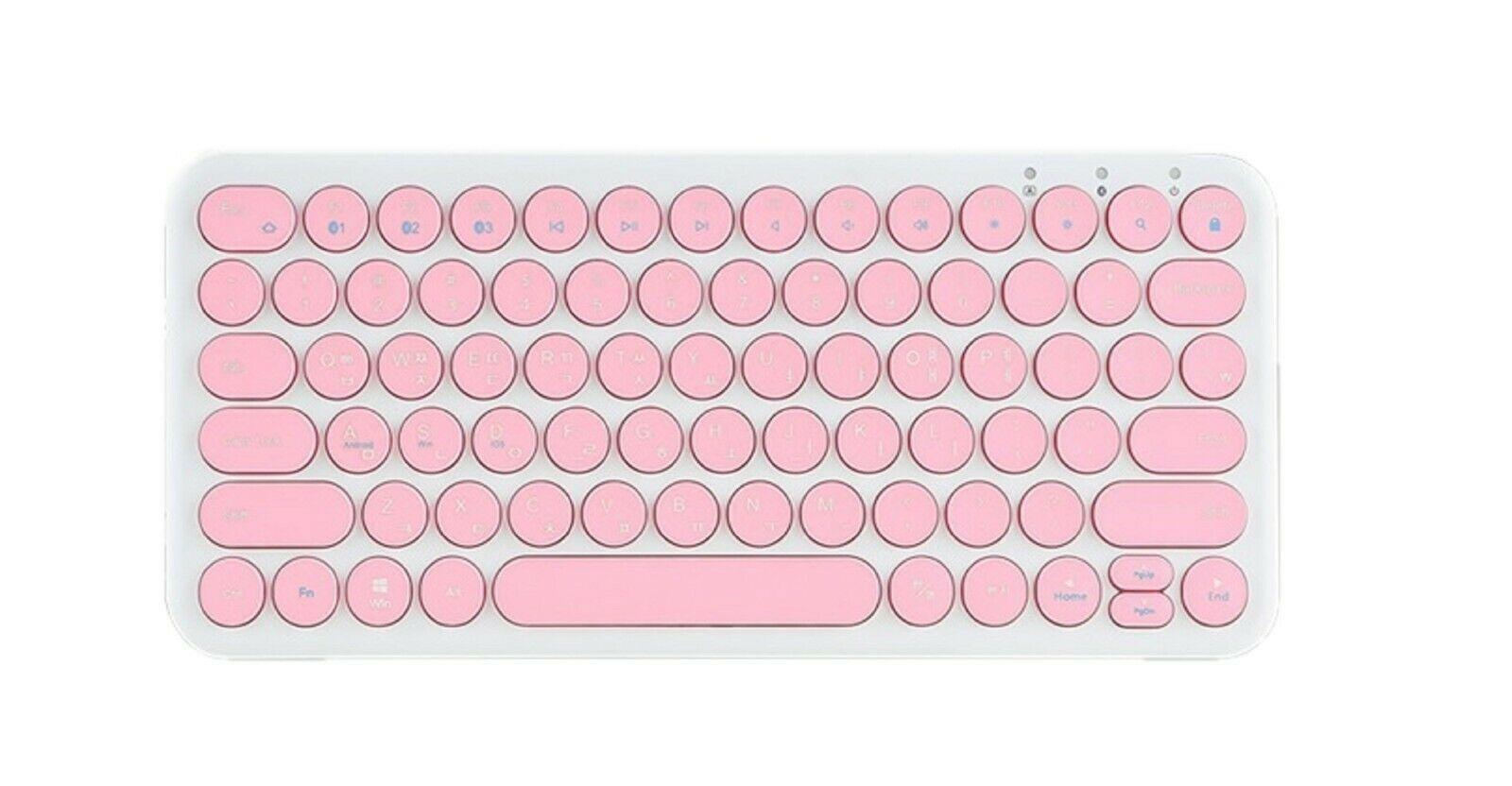 inote Korean English Bluetooth Slim Keyboard Wireless Compact Mini (Pink)