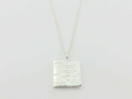 Authentic TIFFANY & CO Sterling Silver Notes Square Pendant Necklace - $99.20
