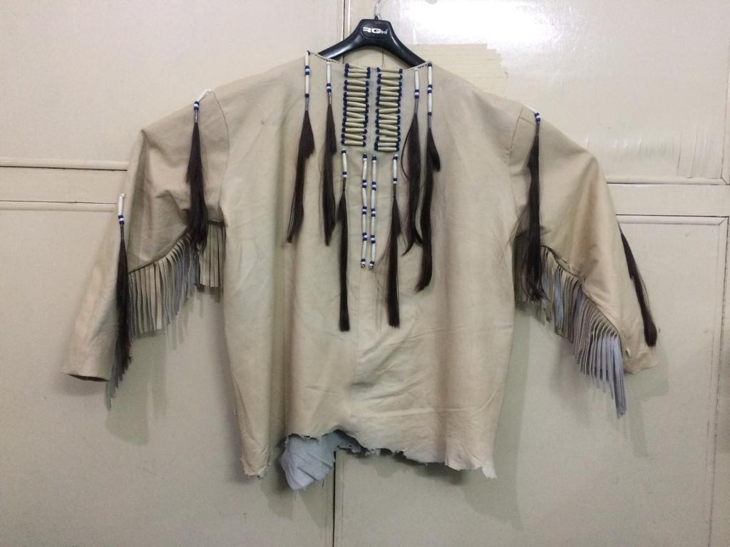 New Mens Native American Beige Buckskin Goat Leather Hippie War Shirt NA46