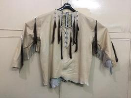 New Mens Native American Beige Buckskin Goat Leather Hippie War Shirt NA46 - $159.00