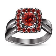 Women's 14K Black Gold Over Round Cut Band 1.30 CT Garnet Engagement Bri... - $96.37
