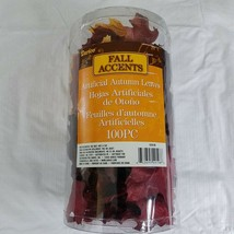 Fall Leaves 100 Pieces Autumn Crafts Decor Burgundy Yellow Orange Red - $9.90