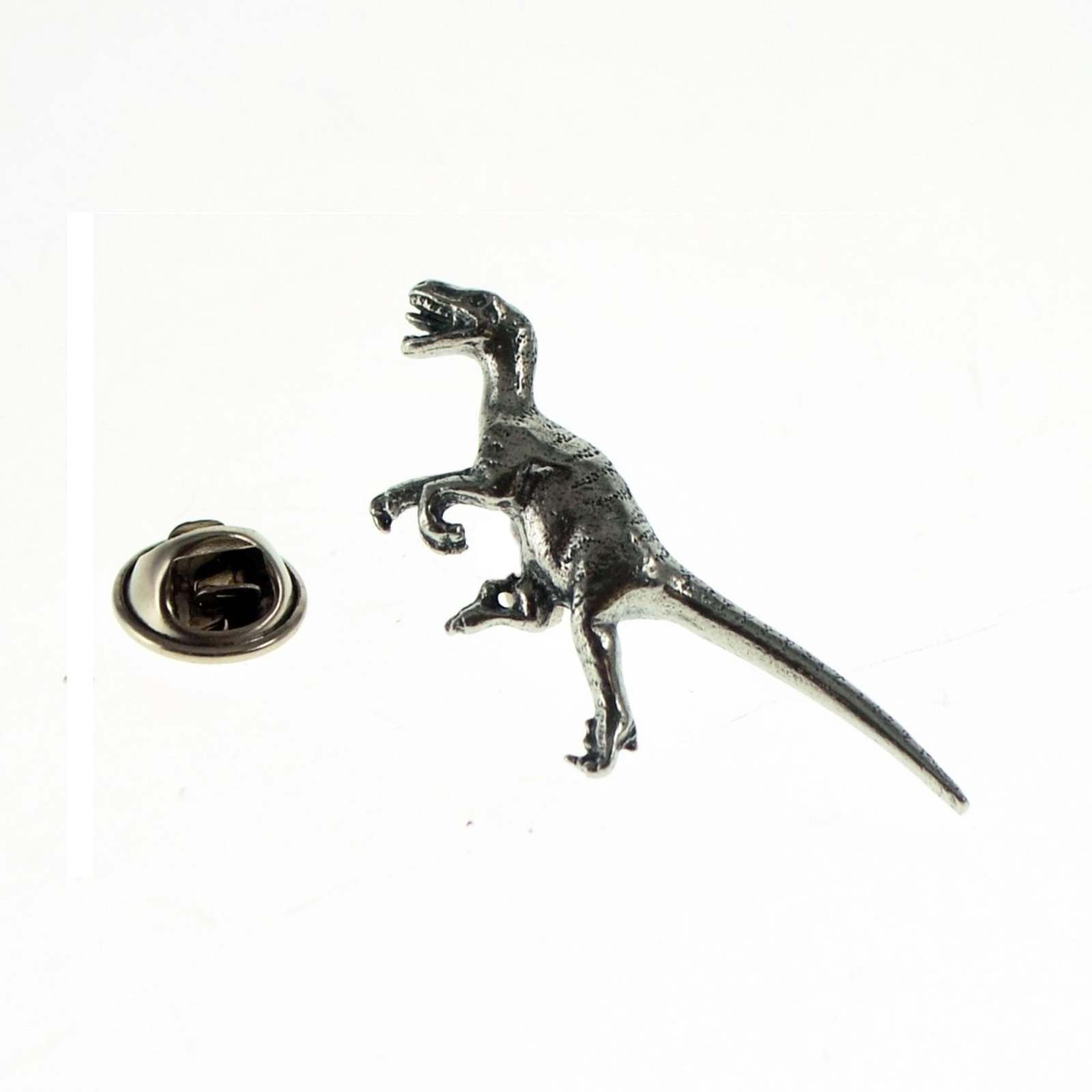 Velociraptor Dinosaur british pewter Badge Lapel /tie Pin Badge 3d effect