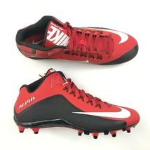 NEW Nike ALPHA PRO Football Cleats Mens Size 15 Red Black Mid Top Lace U... - $27.33