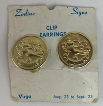 Vintage VIRGO Clip On Earrings Gold Tone Maiden August September - $22.36