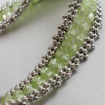 925 Silver Bracelet, Tennis Balls Multi Wires, Peridot Green, Made in Italy image 3