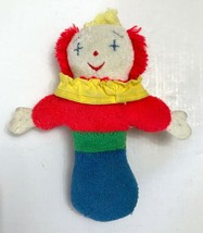 "Eden Toys Clown Rattle Plush Terry Cloth 6.5"" Vintage 1989 Collectible - $14.82"