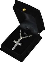 "Silver Cross Pendant w/20"" chain & black velvet display box - $149.99"