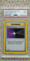 Pokemon Energy Retrieval 81/102 1st Edition Base Set PSA 9 1999 Game Shadowless - $59.99