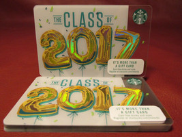 Lot of 8 Starbucks, THE CLASS OF 2017 Hologram Gift Cards New Unused with Tags - $24.70
