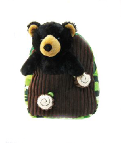Kreative Kids Plush Green Camo Polyester Backpack & Black Bear Buddy,Little Ones