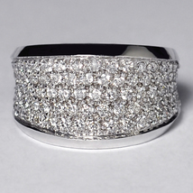 Natural DIamond Statement Wide Band Ring Women 14K White Gold 1.36 Carat - $1,699.00