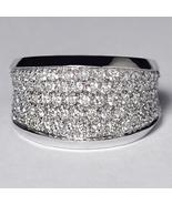 Natural DIamond Statement Wide Band Ring Women 14K White Gold 1.36 Carat - $1,699.00
