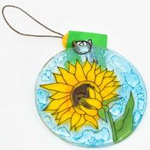 Sunflower Flower Tree Fused Art Glass Ornament Handmade in Ecuador