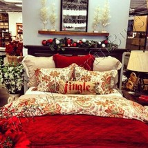 Pottery Barn Charlie Duvet Cover Set Red Warm Queen 2 Euro Shams Floral ... - $179.99