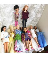 Lot of 10 Imperfect Barbie Disney and Other Fashion Dolls with Clothing - $23.38