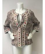 Just B Jacket Women Small Medium Tribal Brown Orange 3/4 Sleeve Business... - $29.39