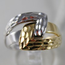 SOLID 18K WHITE & YELLOW GOLD BAND RING HUG INFINITY FINELY WORKED MADE IN ITALY image 1