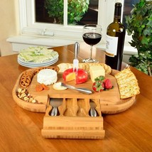 Cheese Board Cutting Tray Blue Set Serving Bamboo Wooden Snack with Tool... - $91.17