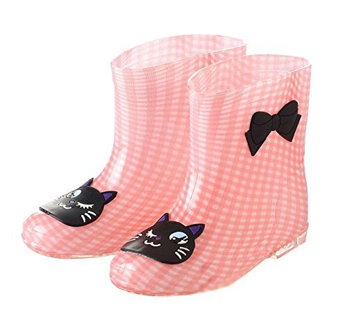 Cute Starry Kids' Rain Boots Black Cat Children Rainy Days Shoes 17CM