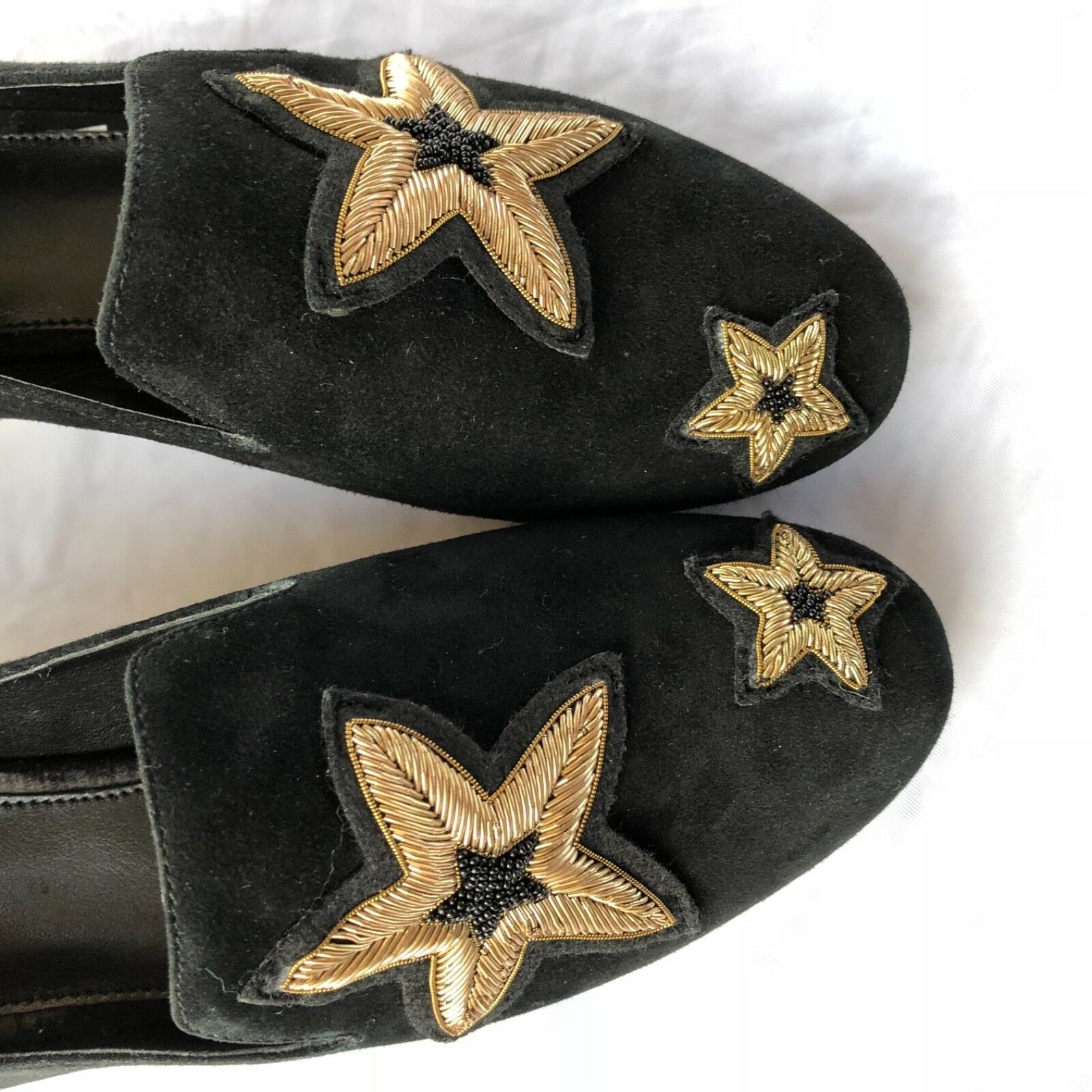 Michael Kors Femmes Chaussures Noir en Cuir Caoutchouc Semelle Broderie Size 6.5 image 7
