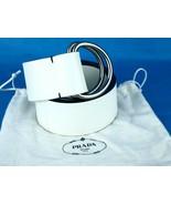 Authentic Prada White Leather Double Buckle Belt 1C 2270 Size 32 / 80 cm... - $177.21