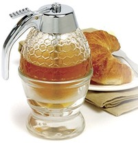 NORPRO 780 Glass 1 Cup Bee Hive Honey Syrup Dispenser Jar With Stand - $20.86